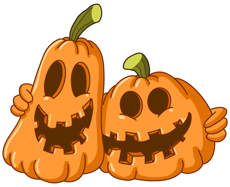 Two pumpkins hugging each other Vector
