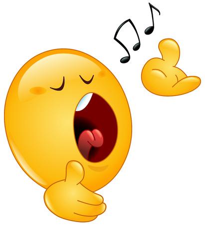 Un Emoji Emoticone Porter Un Casque Et Ecouter De La Musique Ou De Chanter Avec Des