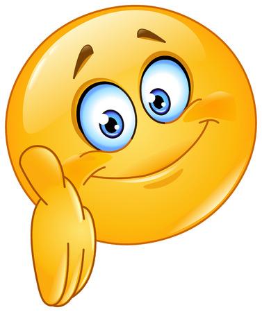 cliparts: Emoticon het geven van een hand Stock Illustratie