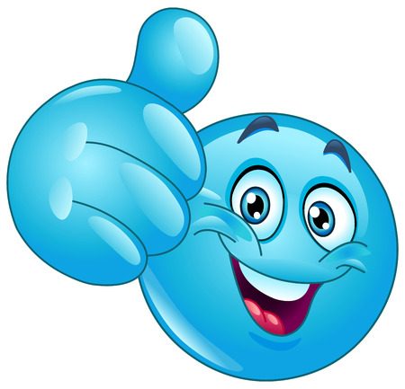 smiley face cartoon: Emoticon azul que muestra el pulgar hacia arriba