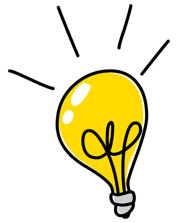 yellow bulb: Light bulb vector doodle