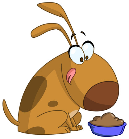 getting ready: Cartoon dog getting ready to eat from a bowl