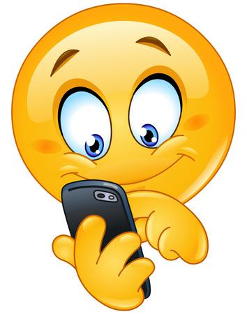Emoticon using mobile smart phone Stock Illustratie