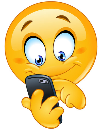 smiley face cartoon: Emoticon utilizando tel�fono m�vil inteligente