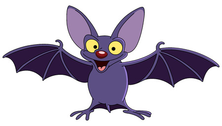Cartoon bat spreading his wings Stock Illustratie