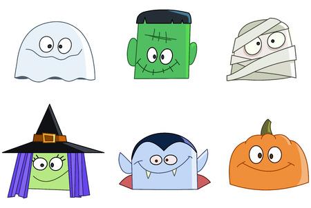할로윈 캐릭터 세트에 직면 해있다. 유령, 녹색 괴물, 엄마, 마녀, 뱀파이어와 호박