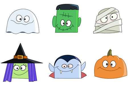 costumes: Halloween characters faces set. Ghost, green monster, mummy, witch, vampire and pumpkin