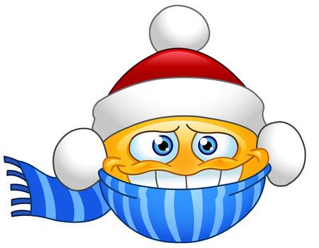 Emoticon in de winter kleding Vector Illustratie