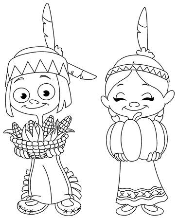 outlinear: Niños indios americanos descritos compartiendo comida de Acción de Gracias. Vector ilustración de la página para colorear.
