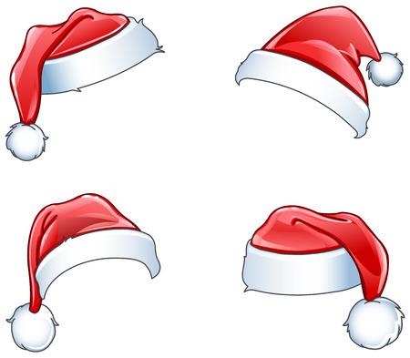 sombrero: Brillantes sombreros de Santa establecen Vectores