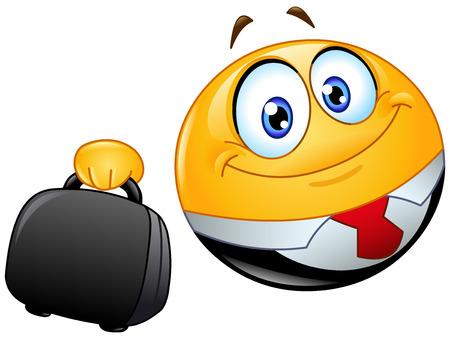 Business emoticon holding a briefcase Vector