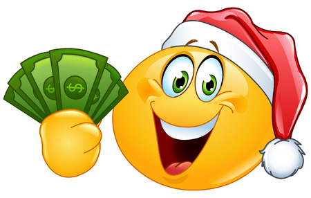 Emoticon wearing Santa hat and holding dollar bills