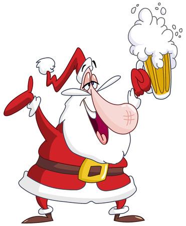 Papá Noel borracho con cerveza