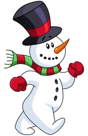Vrolijke sneeuwman wandelen