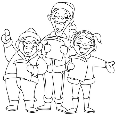 carol: Outlined Christmas carolers. Vector illustration coloring page.