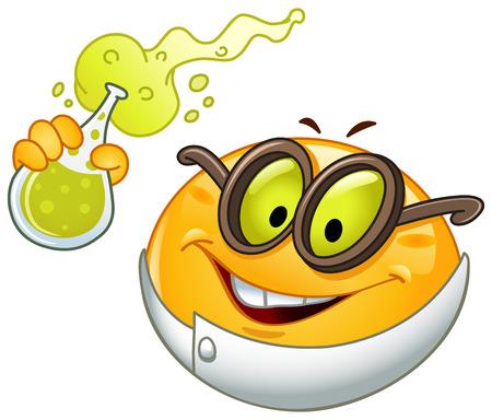 Scientist Emoticon hält einen Becher voll mit Sekt Fluid Standard-Bild - 33549038