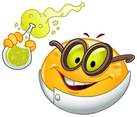 Scientist emoticon holding a beaker full with bubbly fluid Illustration