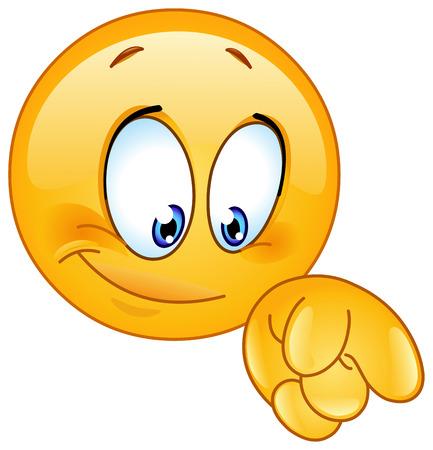 dedo indice: Emoticon apuntando hacia abajo con su dedo Vectores