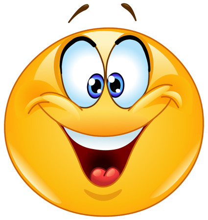 caras felices: Emoticon feliz con los ojos cruzados entrecerrar los ojos. Vectores