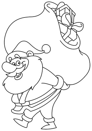 Outlined Santa Claus carrying a big gifts sack on his back. Vector illustration coloring page. Vector
