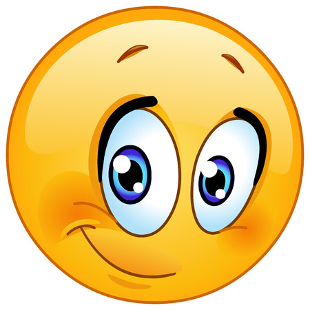 smile happy: Cute emoticon with half smile