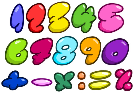 bubble gum: Comic bubble shaped numbers and math symbols set