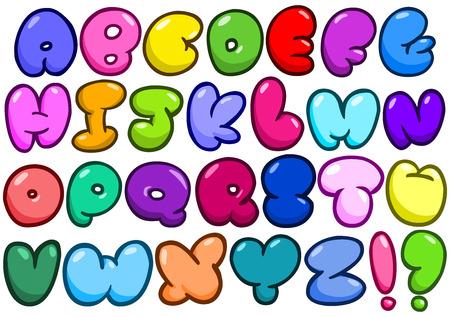 abecedario graffiti: El conjunto de alfabeto en forma c�mica de la burbuja Vectores