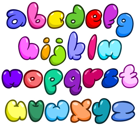 letter art: Comic bubble shaped lower case alphabet set