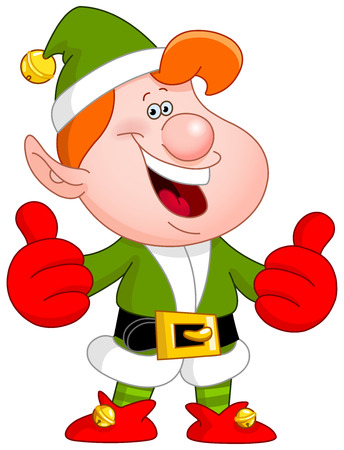 dwarf costume: Cheerful Christmas elf showing thumbs up
