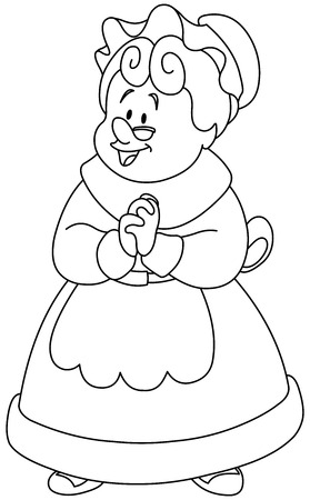 Outlined happy Mrs. Claus.  Vector