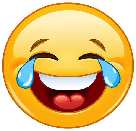 happy face: Laughing emoticon with tears of joy Illustration