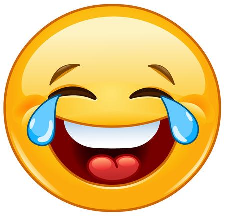 Laughing emotikon z łzami radości Ilustracje wektorowe
