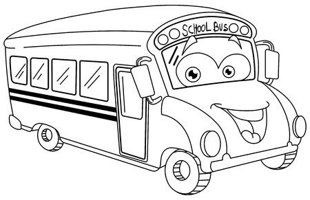 fila de personas: Dibujos animados autobús escolar contorneada
