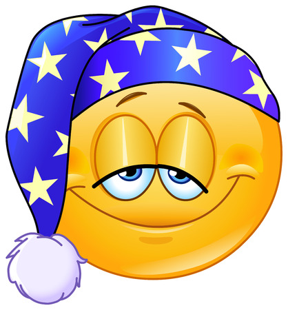 asleep: Good night emoticon with nightcap