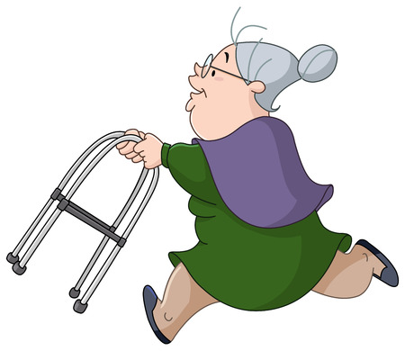 Old woman running with her walker