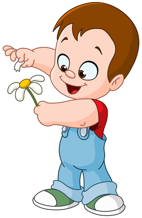 flowers cartoon: Little kid playing she loves me she loves me not with flower petals