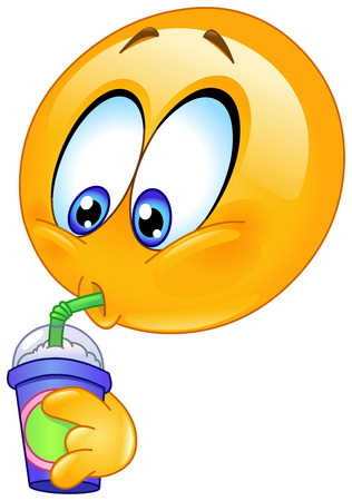 Emoticon drinking soda from a disposable cup Vector