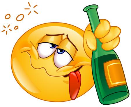 alcoholist: Dronken emoticon met een alcoholische drank fles Stock Illustratie