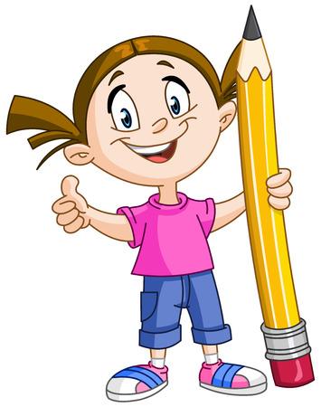 Ragazza che tiene una grande matita e che mostra pollice in su