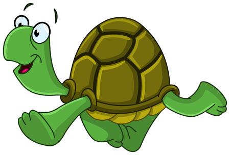 green sea turtle: Happy turtle walking Illustration
