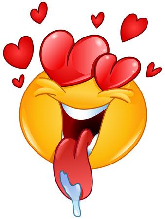 В любви смайлик с сердечками и языком из слюни