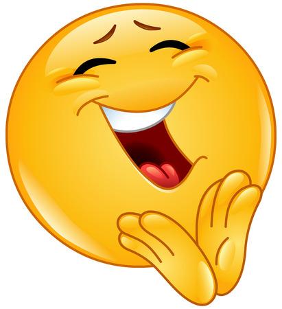 Cheerful emoticon clapping Illustration