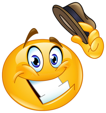 wave hello: Emoticon tipping his hat Illustration