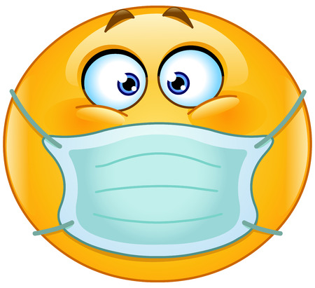 sick person: Emoticon with medical mask over mouth