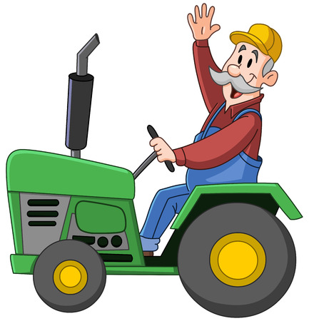 Smiling farmer driving a tractor and waving Vectores