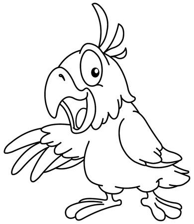 guacamaya caricatura: Esbozó loro dibujos animados, presentando con su ala. Vector ilustración de la página para colorear.