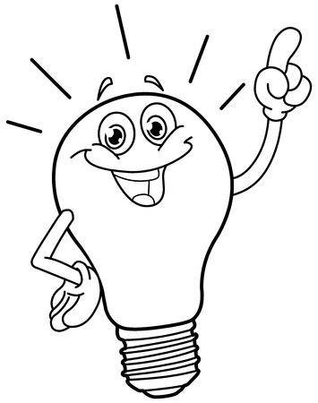 invent clever: Outlined cartoon light bulb. Vector illustration coloring page. Illustration