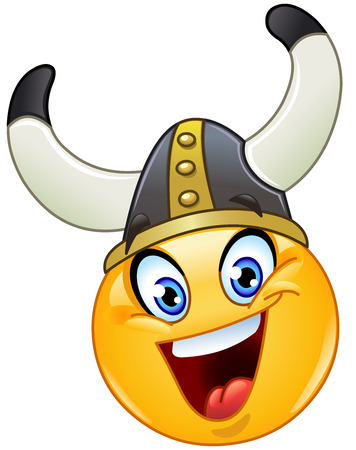 military helmet: Emoticon with a Viking helmet