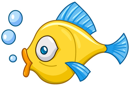 the animated cartoon: Cartoon fish with bubbles