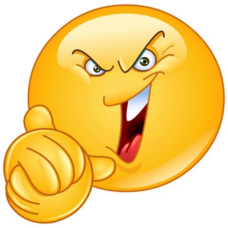 expresiones faciales: Emoticono riendo malvadamente y retorciéndose las manos